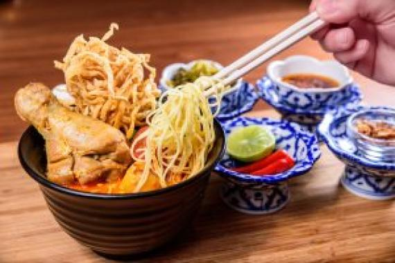 泰北清邁咖哩雞金麵(Khao Soi)($108) Northern Thai Style Curry Chicken with Yellow Noodle (Khao Soi)