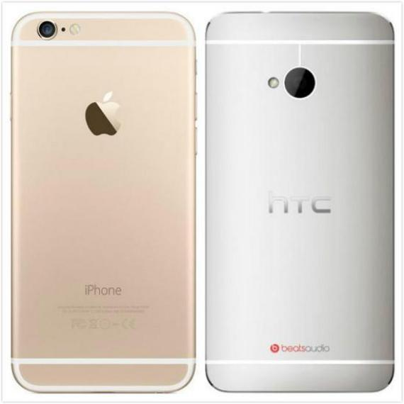 圖:iPhone6和The New HTC One