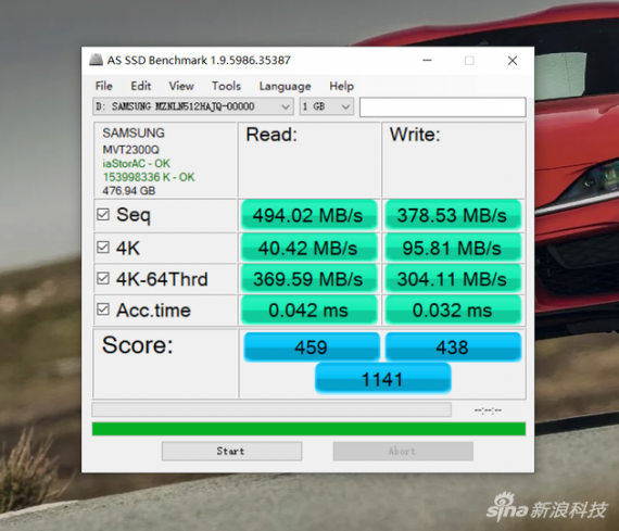 AS SSD Benchmark跑分