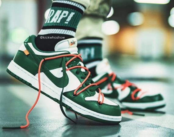 off-white-nike-dunk-low-pine-green-CT0856-100-2-on-feet-release-date